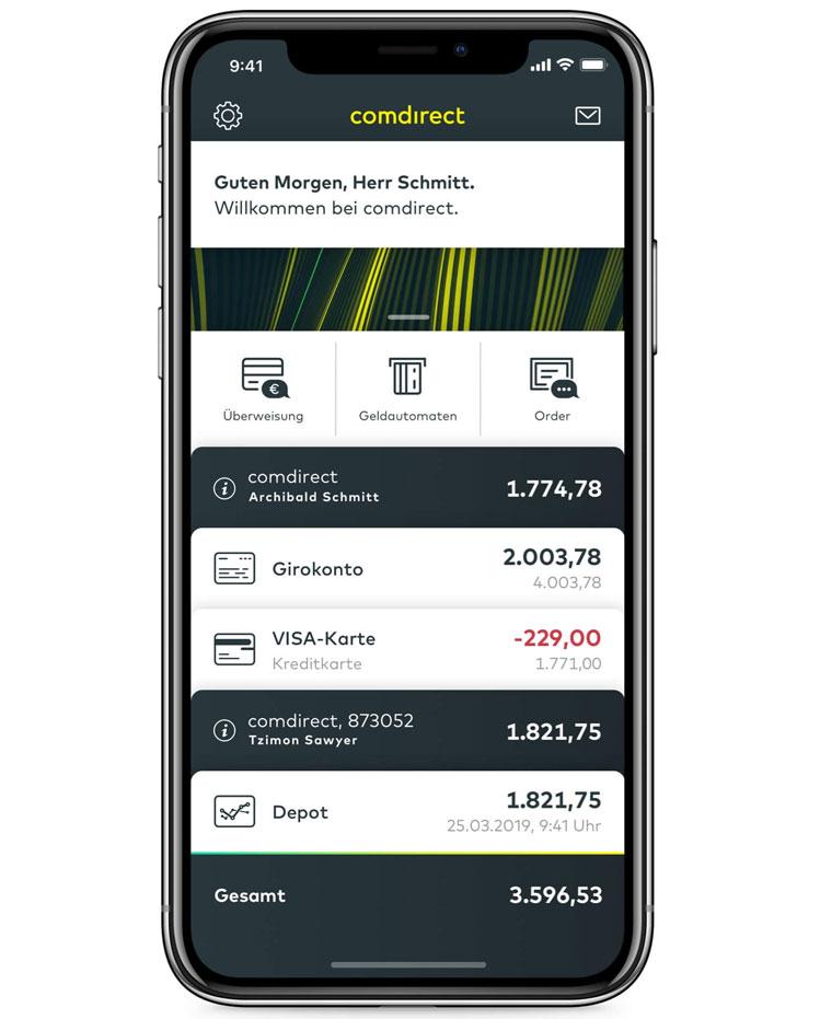 comdirect App-Übersicht