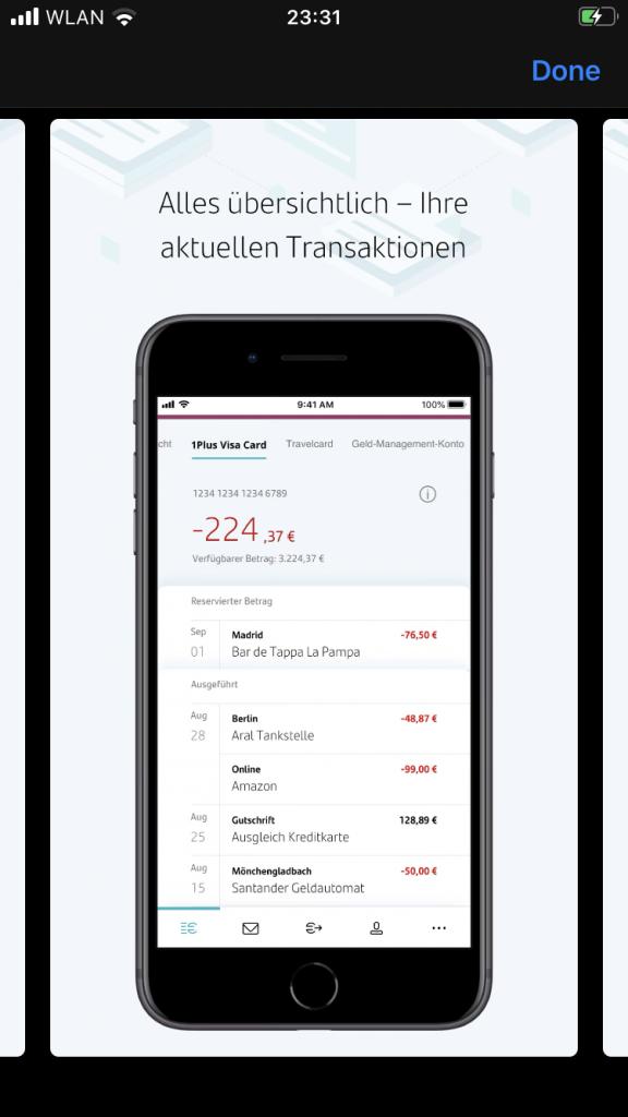 Santander Banking App Überweisung